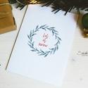 """Téli természet - karácsonyi koszorú képeslap 1., Karácsonyi, adventi apróságok, Naptár, képeslap, album, Ajándékkísérő, képeslap, Képeslap, levélpapír, """"Let it snow""""  A téli természet lágy árnyalataival jelenik meg az ünnepi hangulat a lapok illusztrác..., Meska"""