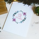 """Téli természet - karácsonyi koszorú képeslap 3., Dekoráció, Naptár, képeslap, album, Ünnepi dekoráció, Karácsonyi, adventi apróságok, Ajándékkísérő, képeslap, Képeslap, levélpapír, """"Holly Jolly Christmas""""  A téli természet lágy árnyalataival jelenik meg az ünnepi hangulat a l..., Meska"""