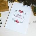 """Téli természet - karácsonyi koszorú képeslap 5., Dekoráció, Karácsonyi, adventi apróságok, Naptár, képeslap, album, Ünnepi dekoráció, Ajándékkísérő, képeslap, Képeslap, levélpapír, """"Merry Christmas""""  A téli természet lágy árnyalataival jelenik meg az ünnepi hangulat a lapok illusz..., Meska"""