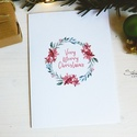 """Téli természet - karácsonyi koszorú képeslap 7., Dekoráció, Karácsonyi, adventi apróságok, Naptár, képeslap, album, Ünnepi dekoráció, Ajándékkísérő, képeslap, Képeslap, levélpapír, """"Very Merry Christmas""""  A téli természet lágy árnyalataival jelenik meg az ünnepi hangulat a lapok i..., Meska"""