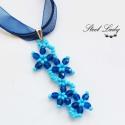 Kék virágözön nyaklánc , Ékszer, Nyaklánc, Virágözön fantázianévre hallgató nyakláncom egymással harmonizáló színei felvidítanak é..., Meska