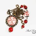 Pretty Red - piros virágos nyaklánc, Ékszer, Nyaklánc, Pretty Red, egy bájos kis piros, mely szolidan bűbájossá teszi viselőjét! :) A piros szín ell..., Meska