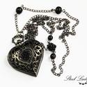 Blackened Time - fekete rózsás szív nyaklánc óra, Ékszer, óra, Karóra, óra, Nyaklánc, Ékszerkészítés, Blackened Time, azaz megfeketedett idő. Ez az igazán tetszetős ékszer kifejezetten a sötét eleganci..., Meska