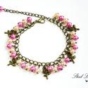 Rose Garden - rózsaszín rózsás karkötő, Ékszer, Karkötő, Rose Garden, azaz rózsakert. Szemrevaló és bájos karkötőt készítettem, melyben két különb..., Meska