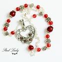 Szerelem a maximumon - szíves nyaklánc piros gyöngyökkel, Ékszer, óra, Nyaklánc, Ékszerkészítés, Szívek, virágok, piros árnyalatok... igazi szerelmes hangulat. Mutatós szív medál díszítettem piros..., Meska