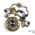 Royal Blue - nyaklánc óra kék gyöngyökkel, Ékszer, óra, Nyaklánc, Karóra, óra, Ékszerkészítés, Royal Blue, ha egy igazán király kéket szeretnél! :) Fenséges nyaklánc órát készítettem, melyet a k..., Meska