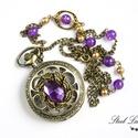 Royal Purple - nyaklánc óra lila gyöngyökkel, Ékszer, óra, Nyaklánc, Karóra, óra, Ékszerkészítés, Royal Purple, ha egy igazán király lilát szeretnél! :) Fenséges nyaklánc órát készítettem, melyet a..., Meska