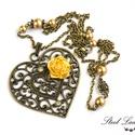 Rose from Heart - szíves nyaklánc arany rózsával, Ékszer, Nyaklánc, Rose from Heart, azaz rózsa a szívből. Visszafogott és nőies, így szívből jövő ajándék l..., Meska