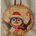 Karácsonyi ajtódísz, Pingvines antikolt, decoupage technikával készü...