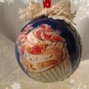 Karácsonyi gömb dísz, Karácsonyi, adventi apróságok, Dekoráció, Karácsonyfadísz, Karácsonyi dekoráció, Decoupage technikával díszített, festett gömb dísz.  7 cm átmérőjű. , Meska