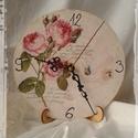 Rózsás óra, Dekoráció, Otthon, lakberendezés, Falióra, óra, Dísz, Antikolt, decoupage technikával díszített óra a hozzá illő talppal. Rózsa mintás, a romantika kedvel..., Meska