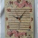 Rózsás óra, Antikolt, decoupage technikával díszített óra....