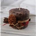Öntött kávészemes gyertya, Kívülről a gyertyát rafiával,piros zsineggel,...
