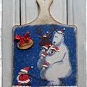 Karácsonyi ajtódísz, Jeges macis-pingvines mintás decoupage technikáv...