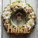 Tavaszi ajtódísz, Dekoráció, Otthon, lakberendezés, Ünnepi dekoráció, Húsvéti apróságok, Koszorú, Mindenmás, Szalma koszorúból készült tavaszi kopogtató ajtóra.  23-24cm átmérőjű.  , Meska