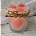 Szerelmes gyertya, Otthon, lakberendezés, Esküvő, Dekoráció, Gyertya, mécses, gyertyatartó, Gyertya-, mécseskészítés, Üvegpohárba rejtett boldogság. A pohárban 3 szív, a tetején pedig 3 rózsafej díszíti a szerelmes va..., Meska