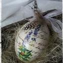 Húsvéti vintage tojás, Dekoráció, Otthon, lakberendezés, Húsvéti díszek, Dísz, Vinatge hatású, decoupage technikával készített  levendulás műanyag tojás.  NEM törik!  A m..., Meska