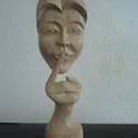 Álarc, Képzőművészet, Szobor, Fa, Juharfából 70x80x320mm, Meska