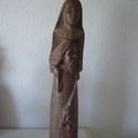 Apáca, Képzőművészet, Szobor, Fa, Diófából készült szobor. Mérete: 12x8x53cm, Meska