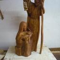 Szent család, Képzőművészet, Szobor, Fa, Nyirfából készült, egy anyagból. Mérete:25x25x70cm, Meska
