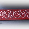 Egyedi mintázatú bőr karkötő, Csillogó Swarovski kristályokkal díszített, me...