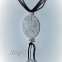 Egyedi zsinóros nyaklánc, Roppantott hegyi kristály gyöngyökkel és ezüs...