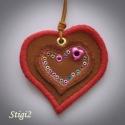 Egyedi bohókás szív medál, Bőrből készített szív medál, színes  ringli...