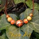 Orange bubble gum - bőr nyaklánc, Ékszer, Nyaklánc, Bőr lánc többszínű kerámia gyöngyökkel. Hozzá karkötő és/vagy fülbevaló külön rendel..., Meska