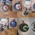 Holdnyaklánc, Ékszer, Medál, Nyaklánc, Ékszerkészítés, Festett tárgyak, Ezüst színű, félholdat formázó medál alapon akrilöntéses technikával készült minta, rajta üveglap, ..., Meska