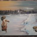 Téli korcsolyázás, Képzőművészet, Vegyes technika, Festészet, Egyedi kézzel készült kavicskép, téli hangulatú. Feszített vászonra, melynek mérete 20*30. A kavics..., Meska