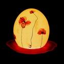 Strucctojás lámpa – Pipacslélek akácfa talpon, Otthon, lakberendezés, Húsvéti díszek, Lámpa, Újrahasznosított alapanyagból készült termékek, Mindenmás, Strucctojásból készült éjjeli/asztali lámpa, valódi, szárított pipacsvirág díszítéssel, akácfa lámp..., Meska