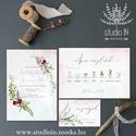 Téli esküvői meghívó szett, téli esküvői meghívó,  Esküvő,Romantikus Esküvő, téli Virágos Meghívó, Esküvő, Meghívó, ültetőkártya, köszönőajándék, Fotó, grafika, rajz, illusztráció, Papírművészet, Téli Esküvői  meghívó szett, prémium borítékkal.  Meghívó CSOMAG: * Meghívó lap, egy oldalas : A6 m..., Meska