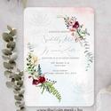 Téli esküvői meghívó, romantikus esküvői meghívó, Bohém Esküvő, festett Virágos Meghívó, Esküvő, Meghívó, ültetőkártya, köszönőajándék, Esküvői dekoráció, Fotó, grafika, rajz, illusztráció, Papírművészet, Romantikus virágos esküvői meghívó, prémium borítékkal.  A termék tartalmazza: * Meghívó lap, egy o..., Meska