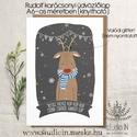 Rudolf karácsonyi képeslap, szarvasos karácsony, Rudolfos karácsonyi üdvözlő lap, Naptár, képeslap, album, Karácsonyi, adventi apróságok, Képeslap, levélpapír, Ajándékkísérő, képeslap, Saját grafikával készült rudolf karácsonyi képeslap, szarvasos karácsony, Rudolfos karácsonyi üdvözl..., Meska
