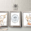 Névre szóló Állatos falikép szett babaszobába, 3db-os erdei állatos dekoráció, erdei állatos falikép szett, őzike, róka