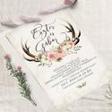 Agancsos Meghívó, Esküvői Meghívó, Erdei Esküvő, Vadász Esküvő,Virágos Meghívó, Esküvő, Naptár, képeslap, album, Meghívó, ültetőkártya, köszönőajándék, Képeslap, levélpapír, Vadászos Esküvői  meghívó, prémium borítékkal.  A termék tartalmazza: * Meghívó lap, egy ..., Meska