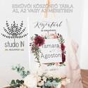 Esküvői üdvözlő tábla, esküvői köszöntő tábla, Esküvői Vendégváró tábla, Esküvő, Dekoráció, Esküvői dekoráció, Ünnepi dekoráció, Fotó, grafika, rajz, illusztráció, Papírművészet, A köszöntő táblákat 3 különböző méretben készítjük: A1, A2 és A3-as változatban. Jelen ár az A1-es ..., Meska