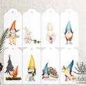 Karácsonyi manós ajándékkísérő, születésnapi ajándékkísérő, ajándékkártya, , Otthon & lakás, Karácsony, Dekoráció, Ünnepi dekoráció, Ajándékkísérő, Fotó, grafika, rajz, illusztráció, Add át ajándékaid helyes manók kíséretében. ______________ A csomag tartalma: - 8 db manos és nyusz..., Meska