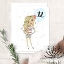 Születésnapi képeslap, csajos születésnap, születésnapi üdvözlő, képeslap, Naptár, képeslap, album, Dekoráció, Ajándékkísérő, Képeslap, levélpapír, Születésnapi képeslap lányoknak. A lufiban lévő számot változtatjuk meg mindössze kérésnek megfelelő..., Meska