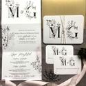 Elegáns esküvői Meghívó, monogramos Esküvői Meghívó, boho esküvői kártya, Esküvő, Otthon & lakás, Meghívó, ültetőkártya, köszönőajándék, Naptár, képeslap, album, Képeslap, levélpapír, Fotó, grafika, rajz, illusztráció, Monogramos esküvői meghívó.  Elegáns, modern, harmonika hajtott esküvői meghívó.  A termék tartalma..., Meska