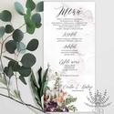 Menü kártya esküvőre, erdei esküvői menü kártya, Esküvői étlap, zöld leveles esküvői asztal dekoráció, Esküvő, Meghívó, ültetőkártya, köszönőajándék, Esküvői dekoráció, Menü kártya a bordó erdei esküvői meghívónkhoz. A Menü kártya akár dekorációja is lehet az esküvői a..., Meska