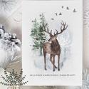karácsonyi képeslap, szarvasos karácsony, téli karácsonyi üdvözlő lap, Otthon & lakás, Naptár, képeslap, album, Képeslap, levélpapír, Dekoráció, Karácsonyi képeslap téli tájjal és szarvassal.   A képeslapok matt, vastag, finoman texturált papírr..., Meska