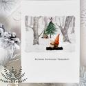 karácsonyi képeslap, manós karácsony, téli karácsonyi üdvözlő lap, Otthon & lakás, Naptár, képeslap, album, Képeslap, levélpapír, Dekoráció, Karácsonyi képeslap kedves manóval.  A képeslapok matt, vastag, finoman texturált papírra vannak nyo..., Meska