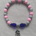 Rózsás csillogás karkötő, Ékszer, óra, Karkötő, Gyöngyfűzés, 8 mm-esszürke-rózsaszín színű, 10*15 mm-es kék csiszolt  üveggyöngyökből, rondell felhasználásval f..., Meska