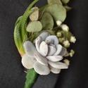 Vőlegény kitűző, Dekoráció, Esküvő, Ünnepi dekoráció, Virágkötés, A vőlegény kitűző élő pozsgás növények, eukaliptusz és fátyolvirág felhasználásával készült.   Az e..., Meska