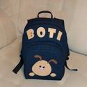 Kutyusos hátitáska - Boti, A táskát farmer anyagból készítettem. A nevet...