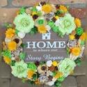 """""""HOME"""" feliratú kopogtató , Dekoráció, Otthon, lakberendezés, Dísz, Ajtódísz, kopogtató, Mindenmás, Virágkötés, """"Ott az otthon,ahol a történetünk  kezdődik..."""" Kezdődik vagy újrakezdődik...Az utóbbinak akkor van..., Meska"""