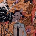 Cafe Rat, Dekoráció, Képzőművészet, Festmény, Akril, Festészet, Fotó, grafika, rajz, illusztráció, Préselt falemezre készített akril illusztráció.  Mérete: 15cm x 25 cm , Meska