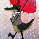 Táncos krokodil, Dekoráció, Képzőművészet, Baba-mama-gyerek, Gyerekszoba, Festészet, Fotó, grafika, rajz, illusztráció, akril illusztráció  mérete: 25x35 cm, Meska
