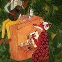 Erdei hétvége, Dekoráció, Képzőművészet, Baba-mama-gyerek, Gyerekszoba, Festészet, Fotó, grafika, rajz, illusztráció, Így telik az erdei rókák hétvégéje. Festenek, zenélnek, kekszet majszolnak egy finom kávé mellé,és ..., Meska